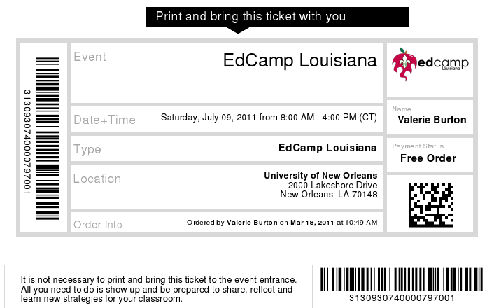 My ticket for EdCamp Louisiana
